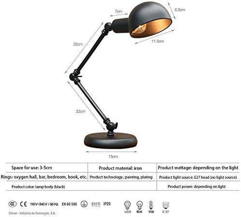 CHEYAL Industrial Vintage Lámpara de Escritorio Creativo Brazo Largo Lámpara de Mesa de Lectura Negro Hierro Lámpara de Lectura Lámpara de Mesa para la Oficina Dormitorio Estudio Vida E27