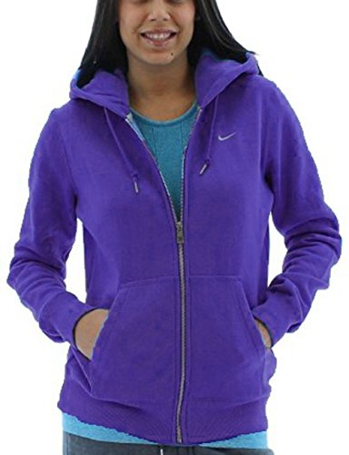 Nike Womens Classic Fleece Swoosh Full Zip Hoodie (Small, Purple)