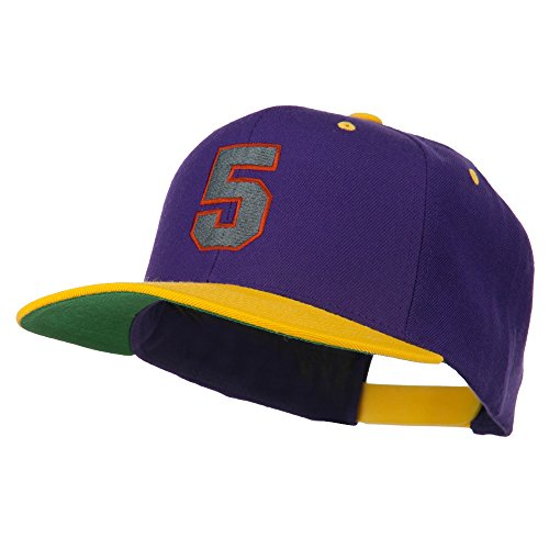 (Athletic Number 5 Embroidered Classic Two Tone Cap - Purple Gold OSFM)