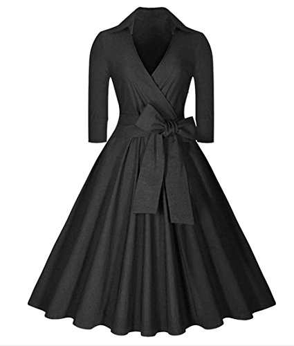 3 Womens Solid Vintage Bow 4 Sleeve neck Dress Flare Cruiize V Black Pleated Fq6dwE1q