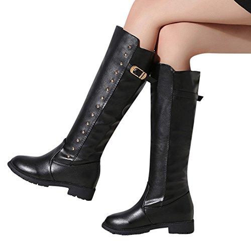 Botas De Mujer, Las Mujeres De Hatop Señoras Planas Con Martin Botas Cremallera De Felpa Botas De Tacón Zapatos De Tacón