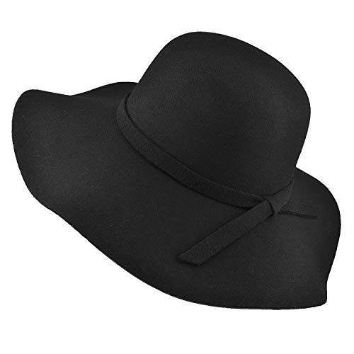 - Women's Sun Hat, Wide Brim Bowknot Floppy Hat Felt Bowler Hat Foldable Top Hat for Beach Travel (Black)