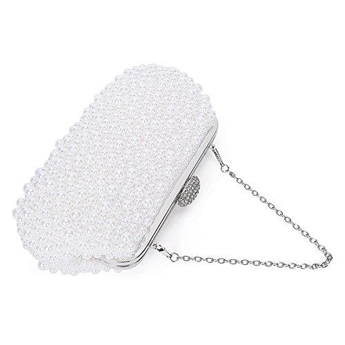 Womens Pearl Beaded Fashion Luxury Purse Kaever Handmade Clutch Bag Crystals qnPfHA