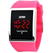 Fanmis Touch Screen Digital LED Waterproof Boys Girls Sport Casual Wrist Watches (Dark pink)