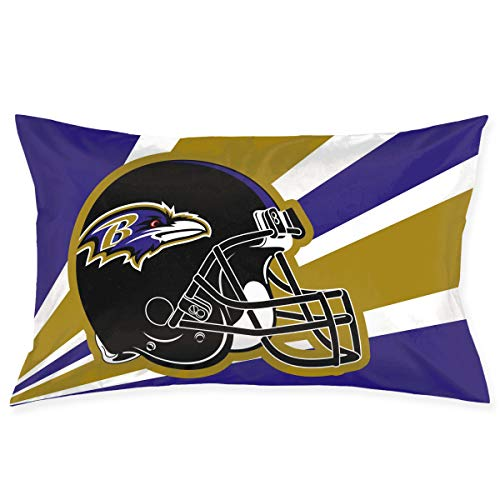 Marrytiny Custom Pillowcase Colorful Baltimore Ravens American Football Team Bedding Pillow Covers Rectangular Pillow Cases for Home Couch Sofa Bedding Decorative - 20x30 Inches