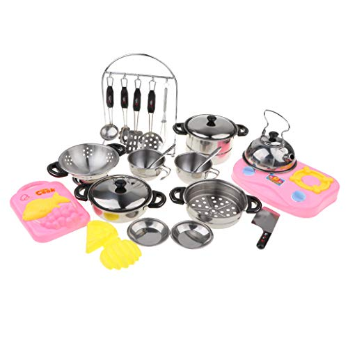 Flameer Stainless Steel Pots and Pans Kitchen 27-Piece Cookware Playset for Kids ()