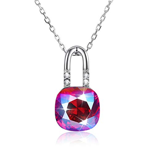 MoAndy Silver Chains Jewelry Lock Shape with Cushion Cut SWA Crystal Sterling Silver Chain Thin Purple