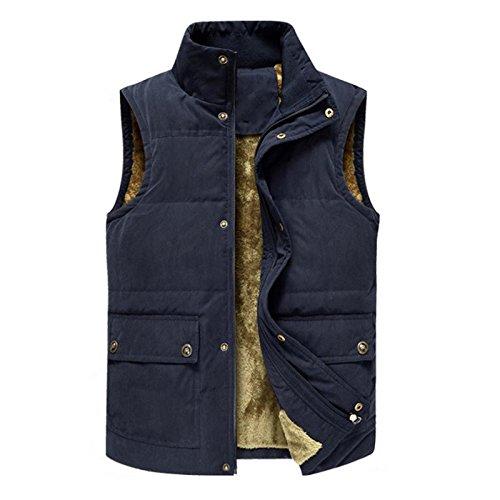 b5ca1116afa7 YANXH Autumn and Winter The New Men Gilet Leisure Plus Cashmere Keep Warm  Vest, Navy, l