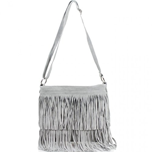 12 LeahWard Grey Tassle Bag Women's Real Handbags Crossbody Leather Shoulder F8qOZ1r8wn