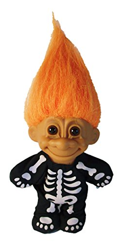 Troll Doll Skeleton Halloween Troll with Orange Hair by Russ 4.5