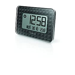 Oregon Scientific JW208 Jumbo Digital Clock with Atomic Time Calendar Temperature for Wall Desk Home Office - Black