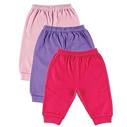 Luvable Friends 3-Pack Pants, Pink/Purple Medium