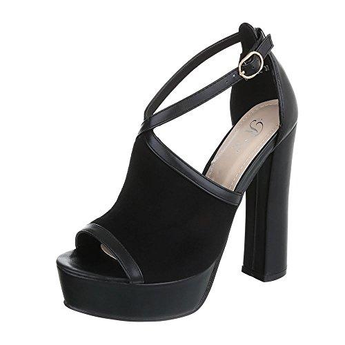 femme chaussures Design Noir compensées Ital qB8Onvwfx