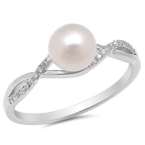 Simulated Ring Designer Diamond (Sterling Silver CZ Simulated Pearl and Simulated Diamond Infinity Designer Ring 5MM Size 10)