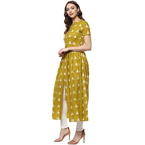 Indian Virasat Women's Printed Long Front Slit Kurta Small Mustard Tunic Kurti by Indian Virasat (Image #2)