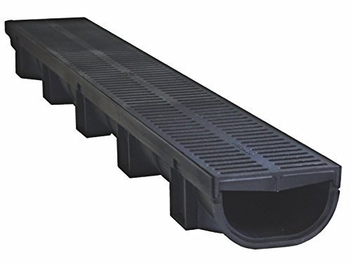 US TRENCH DRAIN, 83500 - 3.33 ft Compact Trench Drain - Black Polymer, Heel Friendly Grate - For Drainage Systems, Driveway, Basement, Pools etc. ()