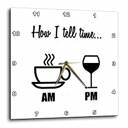 3dRose How I Tell Time. Coffee Cup Am, Wine Glass PM - Wall Clock, 10 by 10-Inch (dpp_224611_1)