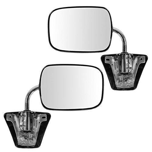 Chrome Manual Side View Mirrors Left LH & Right RH Pair Set for Pickup Truck