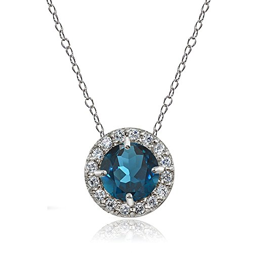 Ice Gems Sterling Silver London Blue Topaz and White Topaz Round Halo Necklace