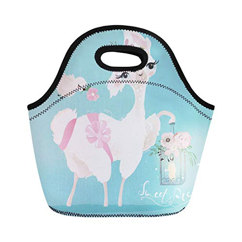 (Semtomn Lunch Bags White Beautiful and Cute Llama Alpaca Flowers Tied Bow Neoprene Lunch Bag Lunchbox Tote Bag Portable Picnic Bag Cooler Bag)