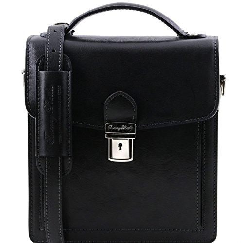Bolso pequeño Modelo Hombre Leather en Negro Piel Tuscany Negro David para TqnE1Wxwa