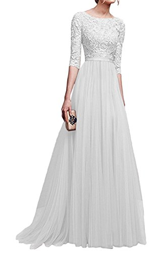 La Mujer Elegante Cuello Redondo Scoop Gasa Partido Formal Ajuste Y Flare Swing Maxi Dress Blanco