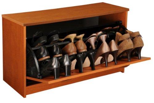 Venture Horizon Home Indoor Stackable Wooden Single Shoe Chest Cabinet Cherry