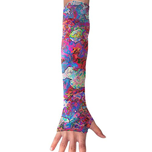 HBSUN FL Unisex Abstract Colorful Texture Anti-UV Cuff Sunscreen Glove Outdoor Sport Riding Bicycles Half Refers Arm Sleeves by HBSUN FL