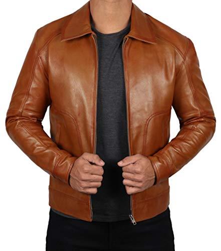 BlingSoul Mens Brown Leather Jacket | [1100485] Thomas, XL