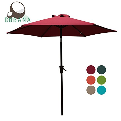 7.5' Crank (Patio Umbrella, 7.5' Outdoor Table Market Umbrella with Push Button Tilt/Crank, 6 Ribs, Dark Red by COBANA)