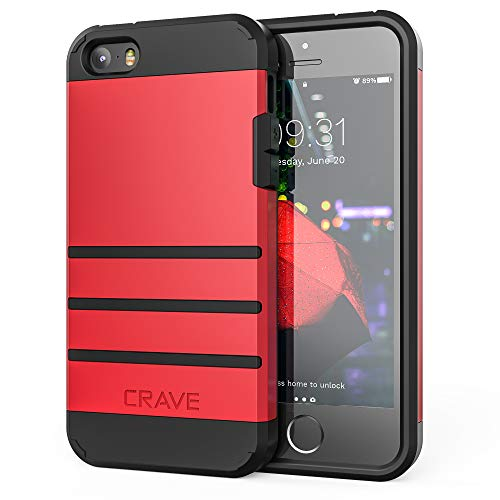iPhone SE Case, iPhone 5s Case, Crave Strong Guard Protection Series Case for iPhone 5 5s SE - Red (Iphone 5s Phone Covers For Boys)