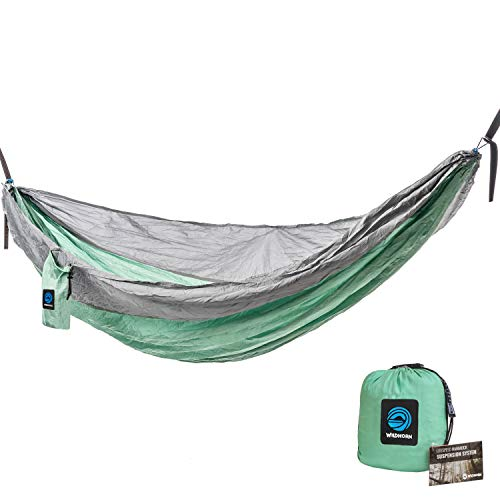 WildHorn Outfitters Outpost Double/Single Camping Hammock with 11' Tree Straps - 100% Parachute Nylon - Cinch Buckle Design, No Knots Required - Easiest Hammock to Hang (Amsteel Hammock)