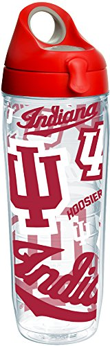 Tervis 1258227 Indiana Hoosiers All Over Insulated Tumbler with Wrap and Red with Gray Lid, 24oz Water Bottle, Clear