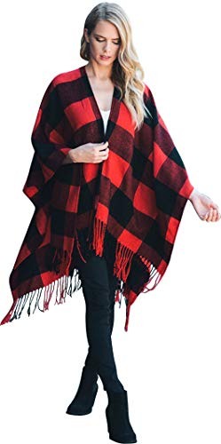 - Daisy Del Sol Knit Buffalo Plaid Checkered Wrap Oversized Blanket Sweater Poncho (Red)