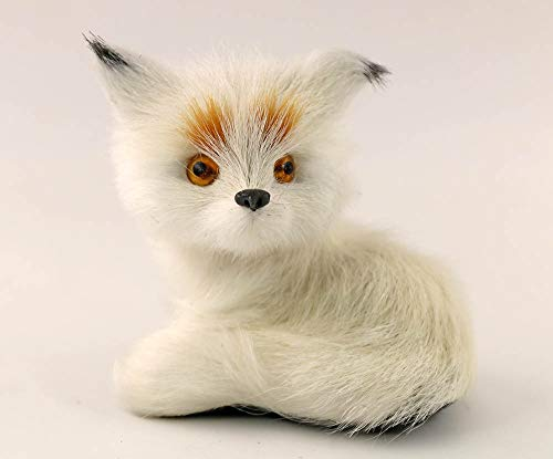 nanguawu Little White Fox Sitting Fengshui Miniature Animal Toy ()