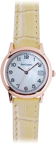 PIERRE LANNIER watch mother-of-pearl round watch pink gold / Croco Pearl beige P115G900 C40 Ladies