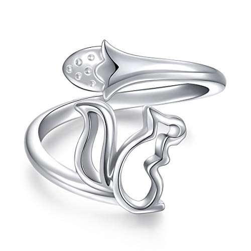 Sterling Silver Cute Squirrel Acorn Adjustable Wrap Open Ring for Women Girl