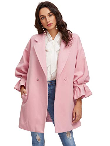 Milumia Women's Drop Shoulder Pearl Detail Ruffle Cuff Long Sleeve Coat Windbreaker Pink M ()