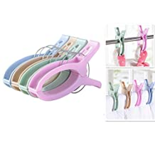 """LFHT 4pcs 6.3"""" Durable Large Beach Towel Blanket Clips Plastic Clothespins Clothes Pegs Pins Clothes Hanger Clamp"""