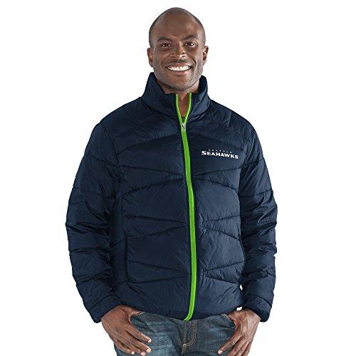 G-III Sports NFL Seattle Seahawks The Blitz Full Zip Packable Jacket, XX-Large, Navy