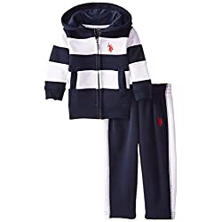 U.S. Polo Assn. Baby Boys' Fleece Zip Up Hoodie and Track Pant Set