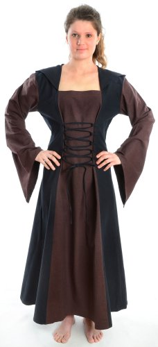 grün braun S rot Gugel Kleid Damen Mehrfarbig HEMAD mit blau zum Mittelalter schwarz Schnüren weiß XL 4POnqz8