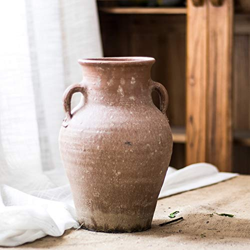 (Restore Ancient Ways Nostalgic Pottery Pot Earthen Pottery Pot Vase Coarse Pottery Pot Jar Hotel Living Room Floor Combination Furnishings (1))