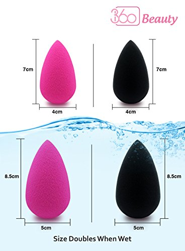 360 Beauty Sponge Blender Cosmetic Foundation DURABLE flawless brush complexion makeup sponge tool + mini blending sponge OPTIMIZED Latex-Free and Vegan for cream powder liquid application