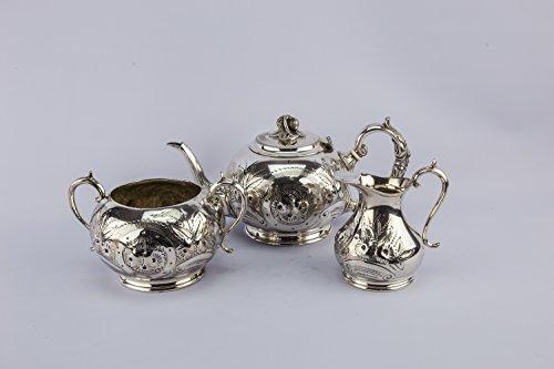 3 Spectacular Silver Plated Metal Floral Medium Globular Rare TEA SET Antique English Late 19th Century LS (Bee Menu Golden)