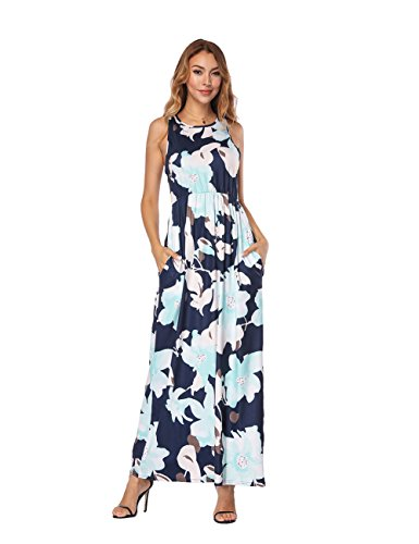 FeelinGirl Mujer Vestido Estampado Largo Falda Cintura Alta Verano Azul Ligero
