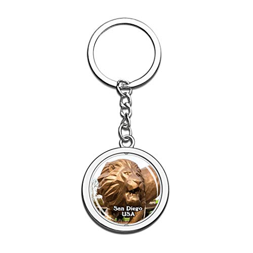 USA United States Keychain San Diego Zoo Key Chain 3D Crystal Spinning Round Stainless Steel Keychains Travel City Souvenirs Key Chain Ring -