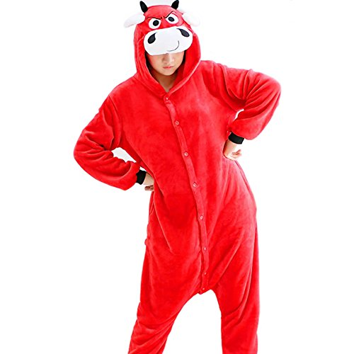 Etaclover Unisex Adult Fleece Pajamas Red bull Onesies Animal Cosplay Costume Kigurumi Lounge Wear