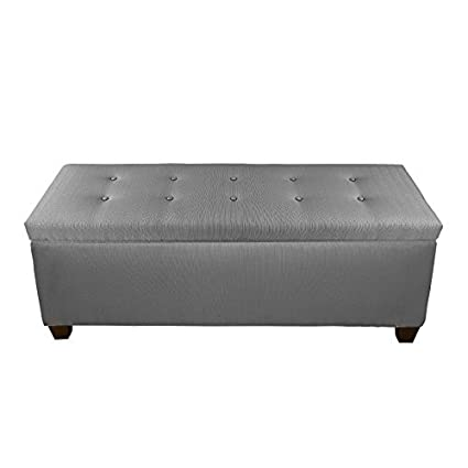 Sensational The Sole Secret Button Tufted Ottoman With Shoe Storage Bedroom Bench With Shoe Storage Slots 20H X 54L X 18D Dark Grey Upholstery Machost Co Dining Chair Design Ideas Machostcouk