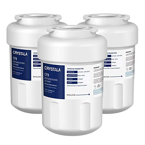 Crystala MWF Water Filters for GE Refrigerators, NSF/ANSI 53&42 Certified GE Water Filter Replacement MWF, MWFP, MWFA, GWF, GWFA, SmartWater, FMG-1, Kenmore 46-9991 (3 Pack)